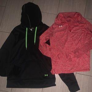 Under Armour hoodie and half zip top Bundle L